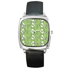Cow Flower Pattern Wallpaper Square Metal Watch