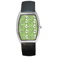 Cow Flower Pattern Wallpaper Barrel Style Metal Watch