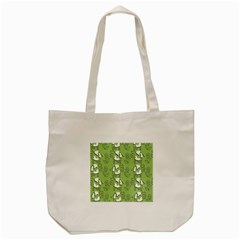 Cow Flower Pattern Wallpaper Tote Bag (cream)