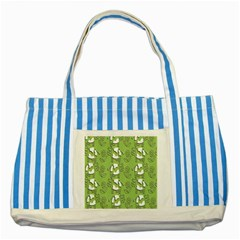 Cow Flower Pattern Wallpaper Striped Blue Tote Bag