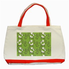 Cow Flower Pattern Wallpaper Classic Tote Bag (red)