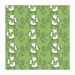 Cow Flower Pattern Wallpaper Medium Glasses Cloth (2 Side)