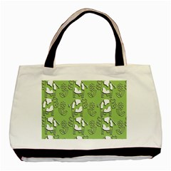 Cow Flower Pattern Wallpaper Basic Tote Bag (two Sides)