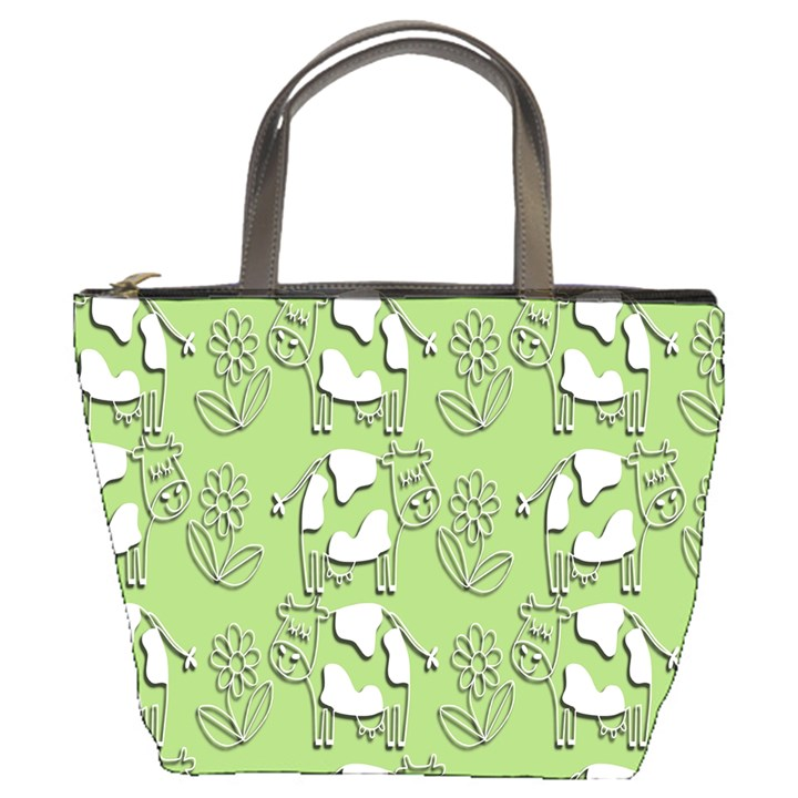 Cow Flower Pattern Wallpaper Bucket Bags