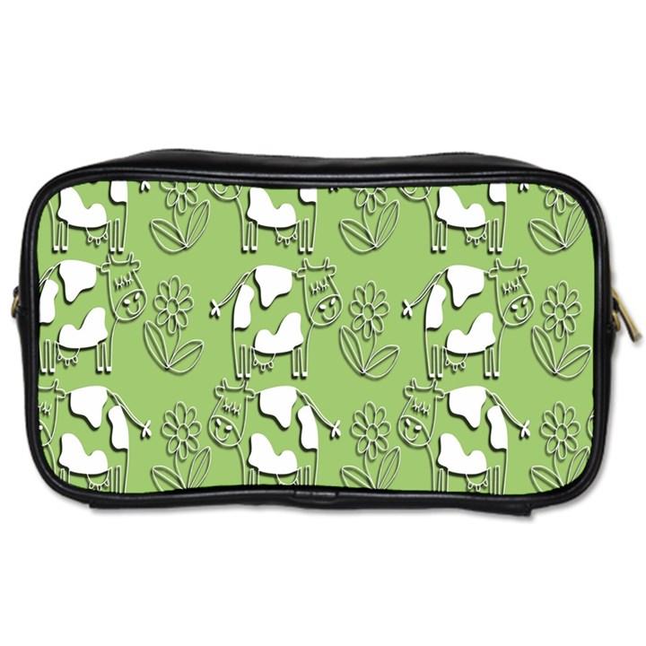 Cow Flower Pattern Wallpaper Toiletries Bags 2-Side