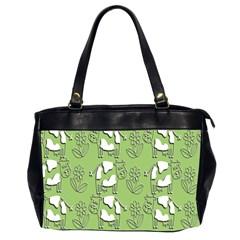 Cow Flower Pattern Wallpaper Office Handbags (2 Sides)