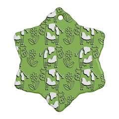 Cow Flower Pattern Wallpaper Snowflake Ornament (two Sides)