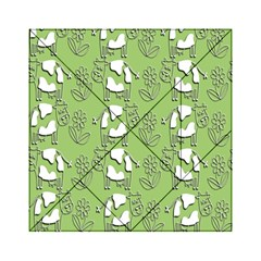 Cow Flower Pattern Wallpaper Acrylic Tangram Puzzle (6  X 6 )