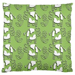 Cow Flower Pattern Wallpaper Large Cushion Case (two Sides)