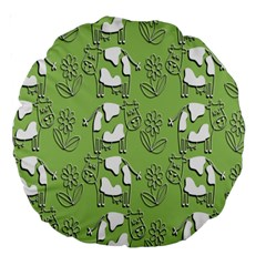 Cow Flower Pattern Wallpaper Large 18  Premium Round Cushions