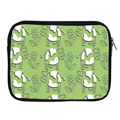 Cow Flower Pattern Wallpaper Apple Ipad 2/3/4 Zipper Cases