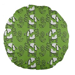 Cow Flower Pattern Wallpaper Large 18  Premium Flano Round Cushions