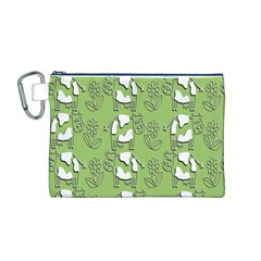 Cow Flower Pattern Wallpaper Canvas Cosmetic Bag (m)
