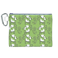 Cow Flower Pattern Wallpaper Canvas Cosmetic Bag (xl)