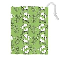 Cow Flower Pattern Wallpaper Drawstring Pouches (xxl)
