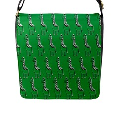 Giraffe Pattern Wallpaper Vector Flap Messenger Bag (l)
