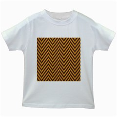 Chevron Brown Retro Vintage Kids White T Shirts