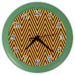 Chevron Brown Retro Vintage Color Wall Clocks
