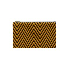 Chevron Brown Retro Vintage Cosmetic Bag (small)