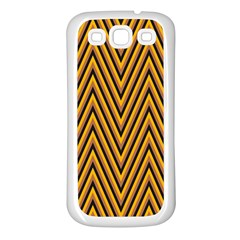 Chevron Brown Retro Vintage Samsung Galaxy S3 Back Case (white)