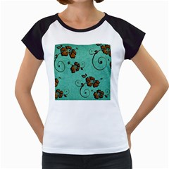 Chocolate Background Floral Pattern Women s Cap Sleeve T