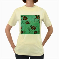 Chocolate Background Floral Pattern Women s Yellow T Shirt