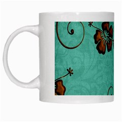 Chocolate Background Floral Pattern White Mugs