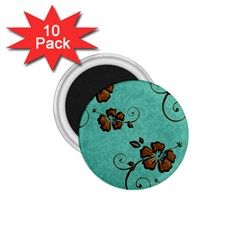 Chocolate Background Floral Pattern 1 75  Magnets (10 Pack)