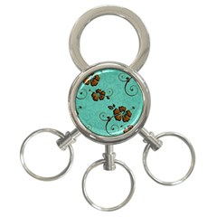 Chocolate Background Floral Pattern 3 Ring Key Chains