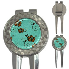 Chocolate Background Floral Pattern 3 In 1 Golf Divots