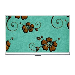 Chocolate Background Floral Pattern Business Card Holders