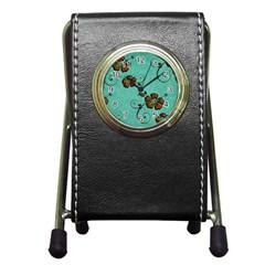 Chocolate Background Floral Pattern Pen Holder Desk Clocks