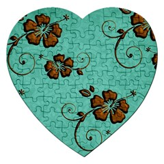 Chocolate Background Floral Pattern Jigsaw Puzzle (heart)
