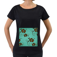 Chocolate Background Floral Pattern Women s Loose Fit T Shirt (black)