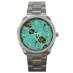 Chocolate Background Floral Pattern Sport Metal Watch Front