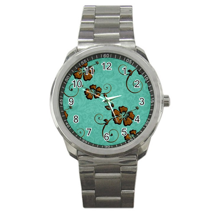 Chocolate Background Floral Pattern Sport Metal Watch