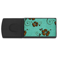 Chocolate Background Floral Pattern Rectangular Usb Flash Drive