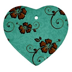 Chocolate Background Floral Pattern Heart Ornament (two Sides)