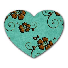 Chocolate Background Floral Pattern Heart Mousepads