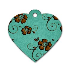 Chocolate Background Floral Pattern Dog Tag Heart (one Side)