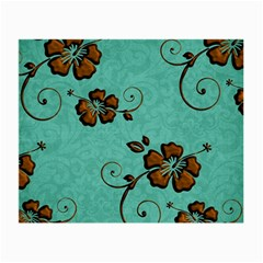 Chocolate Background Floral Pattern Small Glasses Cloth (2 Side)