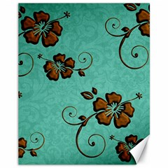 Chocolate Background Floral Pattern Canvas 11  X 14