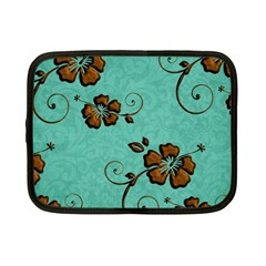 Chocolate Background Floral Pattern Netbook Case (small)
