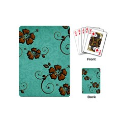 Chocolate Background Floral Pattern Playing Cards (mini)