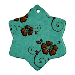 Chocolate Background Floral Pattern Ornament (snowflake)