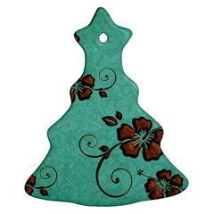 Chocolate Background Floral Pattern Christmas Tree Ornament (two Sides)