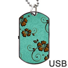 Chocolate Background Floral Pattern Dog Tag Usb Flash (one Side)