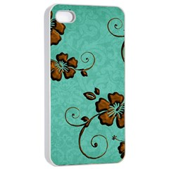 Chocolate Background Floral Pattern Apple Iphone 4/4s Seamless Case (white)
