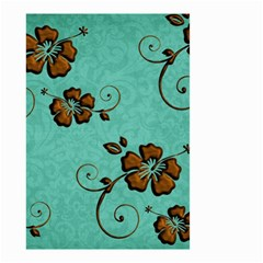 Chocolate Background Floral Pattern Small Garden Flag (two Sides)