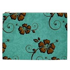 Chocolate Background Floral Pattern Cosmetic Bag (xxl)
